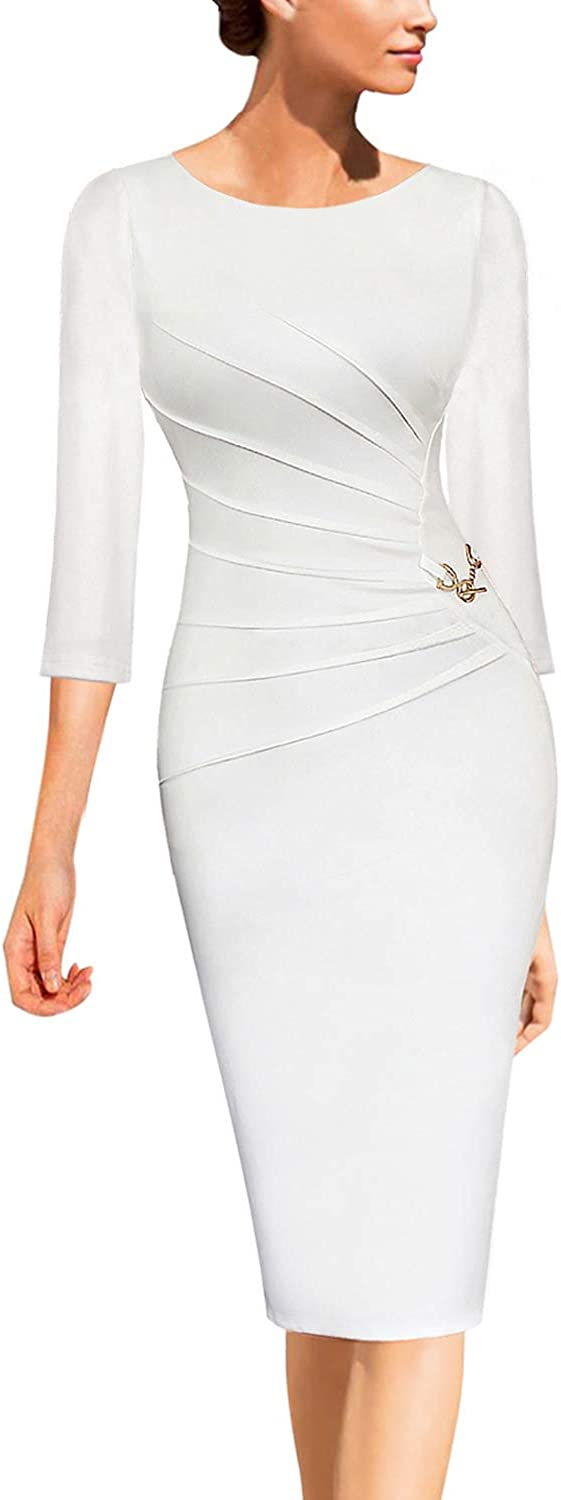 Vfshow Womens Elegant Ruched Work Business Office Cocktail Party Bodycon Pencil Dress
