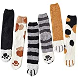 Loritta 6 Pairs Womens Fuzzy Christmas Socks Winter Cozy Soft Fluffy Cute Animal Warm Slipper Socks Gifts, 5 Pairs Animal G