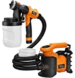 Paint Sprayer, TACKLIFE Professional 800W Spray Gun MAX Flow 1100ml/min Paint Container with 3 Copper Nozzle Sizes, 2 PCS 1200ml Detachable Containers for Painting, Varnishing, Lacquering - SGP16AC