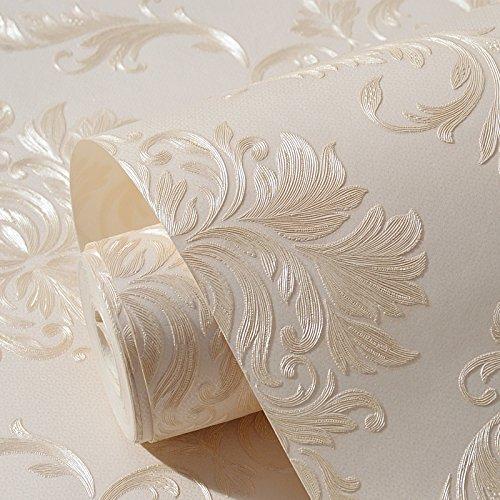 Stoffa non tessuta autoadesiva stile europeo carta da parati Damasco carta da parati a rilievo 3D soggiorno camera da letto sfondo muro rosa adesivi carta da parati