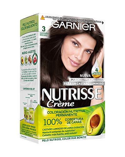 Garnier Nutrisse Creme Coloración Nutritiva Permanente, Tinte 100% Cobertura de Canas con Mascarilla Nutritiva de 4 Aceites - Tono 3 Castaño Oscuro
