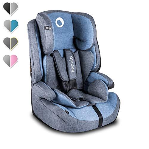 Lionelo Nico Kindersitz 9-36kg Kindersitz Auto Gruppe 1 2 3 Seitenschutz 5-Punkt Sicherheitsgurt abnehmbare Rückenlehne regulierbare Kopfstütze ECE R44 04 (Blau)