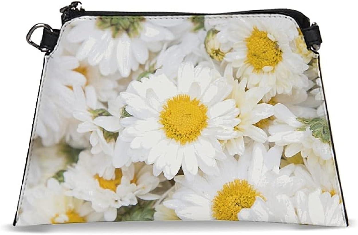 Women PU Leather Wristlet Little Daisy Wallet Mini Crossbody Bags
