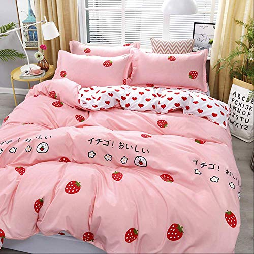 JGYJ 3pcs Catoon Fruit Pattern Bedding Set For Girls Duvet Cover Cotton Comforter Sets Twin King Queen Size Quilt Cover Set King(2.0m bed) pink2