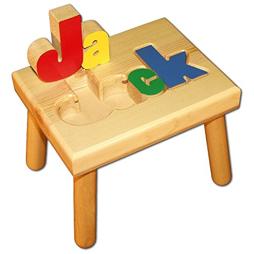 Product Image of the Personalized Wooden Child's Name Puzzle Stool Primary Colors
