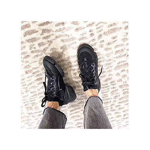 HaoLin Zapatos de Plataforma para Mujer Zapatillas de Deporte Bajas Transpirables Zapatillas Deportivas Informales para Mujer,Black-38 EU
