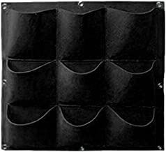Sacow Vertical Planting Bags, Garden Fence Wall Hanging Planter 9/18 Pocket (Black, 9 Pocket)