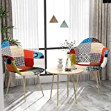 VADIM Scandinavian Dining Chairs Patchwork Set De 2, Sillas Nórdicas Tapizadas...