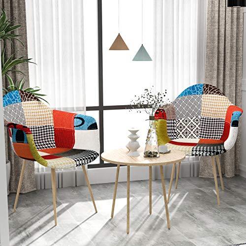 VADIM Esszimmerstühle mit Armlehne 2er Set Patchwork, Küchenstuhl Mit Buchenholzimitat Metallbasis, Design Stuhl Esszimmer Retro