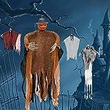 LessMo Halloween Hanging Ghost, Hanging Skeleton Pumpkin Grim Reapers in Horror Robe, for Best Halloween Hanging Decorations, Party, Haunted House Prop, Outdoor and Indoor, Garden, Lawn
