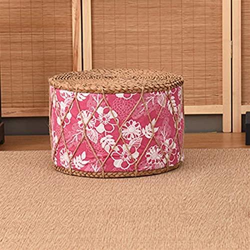 YVX Taburete otomano, Taburete Redondo de Paja japonés, futón, Tatami, Zapatos para cambiarse, Taburete para pies, taburetes para sofá, Banco pequeño (Color: G)