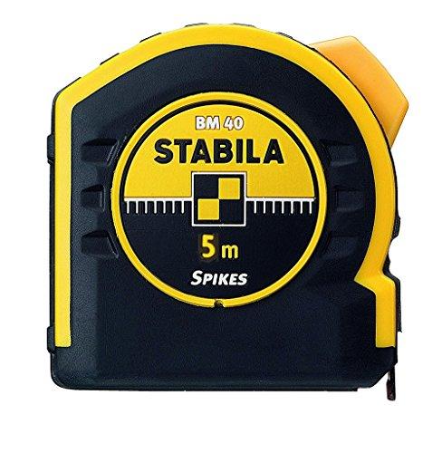 STABILA Taschenbandmaß BM 40, 5 m, mit doppelseitiger Skala und Spikes-Haken, Bandbreite 19 mm