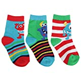 Universaltextilien Baby Jungen Socken Monster/Streifen (3er Packung) (19-22 EU) (Rot/Grün/Blau)