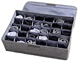 Underwear Socks Storage Organizer with Lids Foldable Closet Drawer Divider 30 Cells, Linen Cotton Storage Box Bin for Socks Underwear Ties Scarves and Lingerie in Wardrobe by AARainbow (Gray)