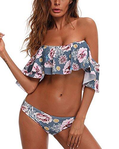 Tempt Me Women Two Piece Sexy Floral Print Swimsuit Flounce Bikini Set B-Grey L