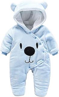 Mameluco del bebé recién Nacido,Mono de Invierno de bebé con Pijama con Capucha Trajes Infantiles