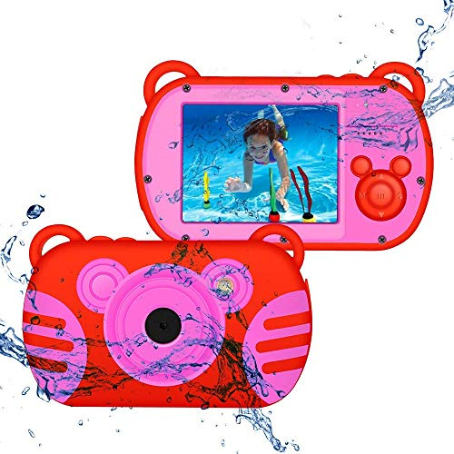 CamKing waterdichte digitale camera, HD 1080P onderwater kinderen anti-val, videocamera, 18 MP 2,7 inch scherm, 8X Mini Cartoon kindervideocamera stofdichte camcorder voor kindergeschenken (rood)