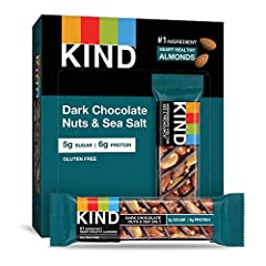 Contains 12 - 1.4oz KIND Bars Our best-selling bar is a simple blend of Brazilian sea salt sprinkled over whole nuts and drizzled with dark chocolate. With 5g of sugar, it's a satisfying, nutty snack that only seems indulgent. Gluten free, No Genetic...