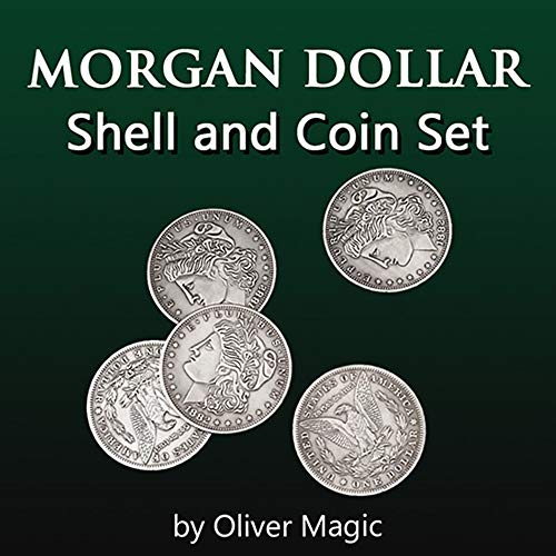 blue-ther Morgan Dollar Shell and Coin Set (5 Coin +1 Head Shell+1 Tail Shell) Magic Coin Magic Tricks Illusions Close up Fun