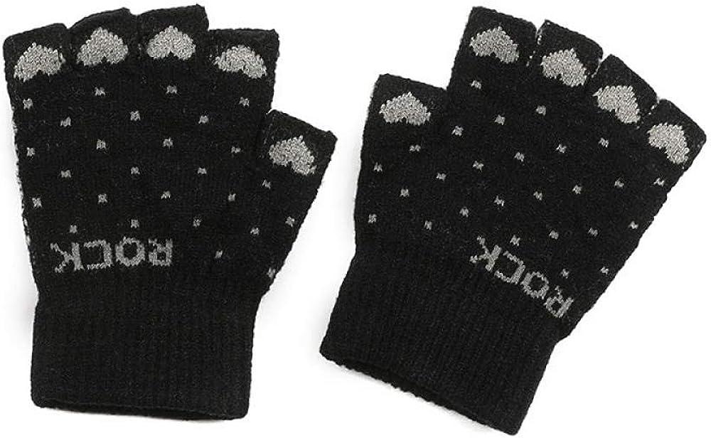 Women's Cold Weather Gloves Half finger knit wool cute outdoor plus velvet fingerless touch screen
