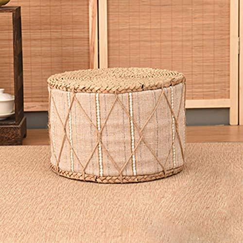 JXJ Taburete otomano, Taburete Redondo de Paja japonés, futón, Tatami, Zapatos para cambiarse, Taburete para pies, taburetes para sofá, Banco pequeño H 7.87in, H