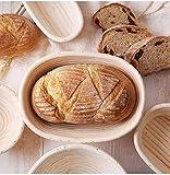 Set di cestini da fermentazione, panno di lino, pinza per barbecue, cesta da fermentazione in tubo di pedaggio per cuocere il pane, 1000 g di impasto (Ellipse, 27 x 15 x 7,5)