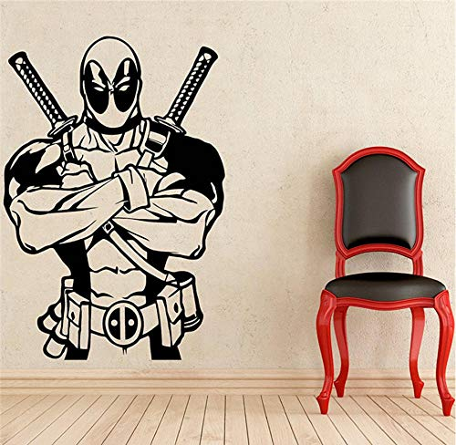 MUXIAND Muurstickers, Hero dubbel mes DIY PVC Quotes Slaapkamer Art Muursticker Woonhuis Decor Keuken Mural Waterdicht Office Creative Club Verjaardagscadeau 58x85cm