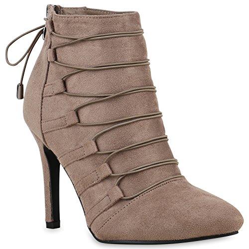 Klassische Damen Stiefeletten Zierperlen Schleifen Stilettos Schuhe 122426 Khaki 38 Flandell