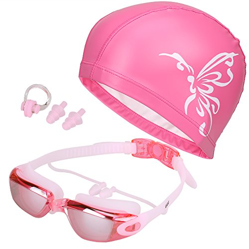 5 in 1 Swimming Goggles Swim Cap Nose Clip Ear Plugs Case, Waterproof Anti-Fog UV Protection for Adult Men Women Youth Kids