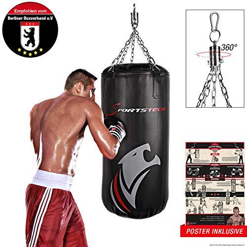 Sportstech Doppelverstärkter Kampfsport Boxsack mit 40cm Durchmesser & Innovative Fünfpunkte-Stahlke (100x40cm)