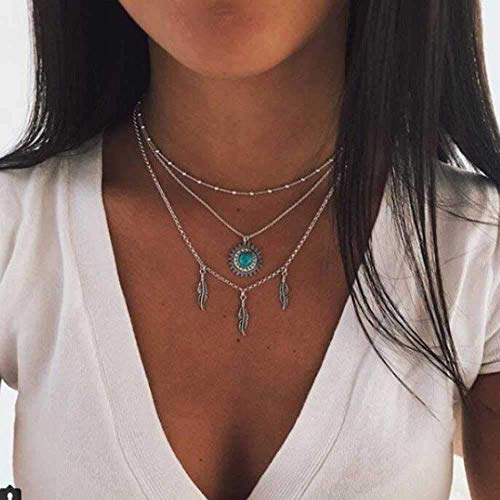 JAWSEU Sexy Necklace Choker Multi-Row Chain for Women Women Bohemian Pendant Leaves Flower Pattern Fashion Jewellery Necklace Chains Gold
