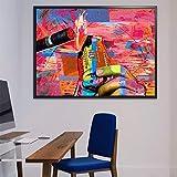 QWESFX Leinwand Paitning Geld, um Licht eine Zigarette Street Art moderne Popkultur Leinwand Geld Zitat Kunst Wandbild für Wohnkultur (Druck ohne Rahmen) E 60x120CM zu blasen