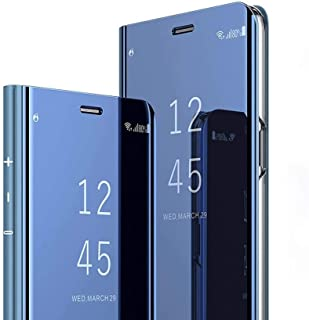 Connect Zone Smart Mirror Stand Case for Samsung Galaxy S10 Plus   Luxury Electroplate Clear View Flip Hard Back Cover   Blue