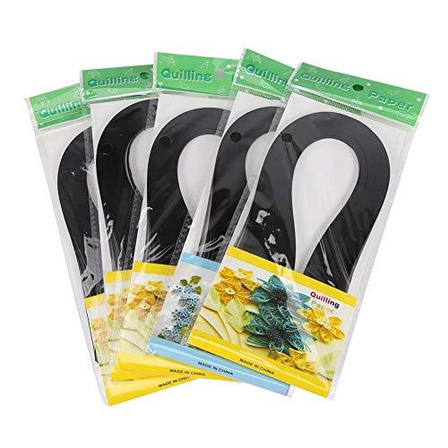 Hög kvalitet varm 600 ränder gör-det-själv quilling-papper 3 mm bredd ren färg origami papper handhantverk dekoration (svart)
