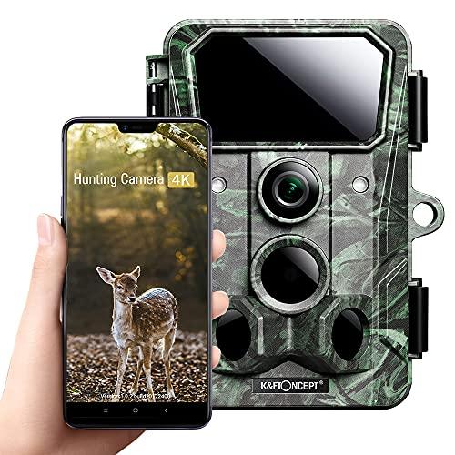 K&F Concept Cámara de Caza Nocturna 4K 30MP WIFI Bluetooth con Impermeable IP66 Cámara de Fototrampeo Visión IR LED Invisibles Sensor de Movimiento para Sequimiento Caza de Fauna