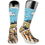 Moruolin Cool Colorful Fancy Novelty Casual Cotton Socks,Illustration Of A Windmill And Hay Bales Harvest Season