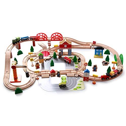 Tren Juguete Madera para Niños- 120 Piezas Trenes De Juguete con Coches Y Pista De Madera Bloques De Construcción Juguetes Educativos 3 4 5 6 Años