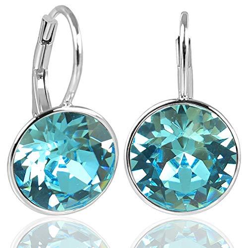 NOBEL SCHMUCK Silber-Ohrringe Türkis mit Kristallen von Swarovski® 925 Sterling Silver
