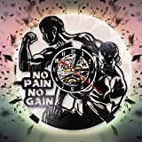 CVG No Pain No Gain Gym Vinyl Record Reloj de Pared Gym Time Reloj de Pared Bodaybuilding Fitness Decor Watch Sport Coach Bodybuilder Gift