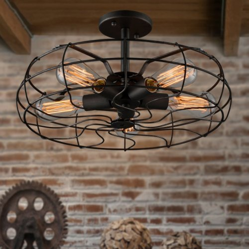 LightInTheBox Loft Vintage Creative Lighting Lamps American Country Style Minimalist Personality Iron Industrial Fan Chandelier 5 Lights Pendent Lights