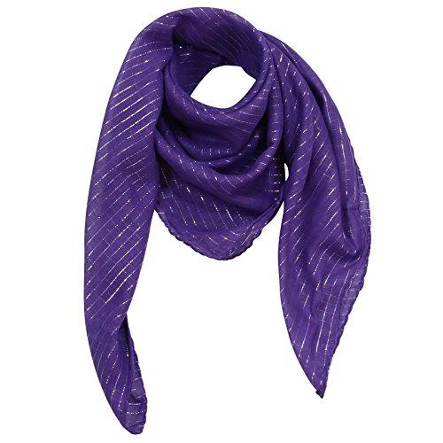 Superfreak® Baumwolltuch mit Silber Lurex - Tuch - Schal - 100x100 cm - 100% Baumwolle Farbe: lila
