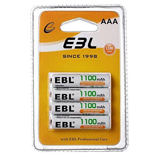 EBL AAA Baterías Recargables de 1100mAh con último Paquete (4 Unidades)