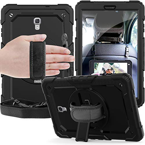 XQ-HD Samsung Galaxy Tab A 10.5 inch Case 2018, Shockproof Rugged Stand Case with Built-in Screen Protector/Hand Strap SM-T590 / T595 case, 3 Layer Silicone Tablet Cover for Galaxy Tab A 10.5''.