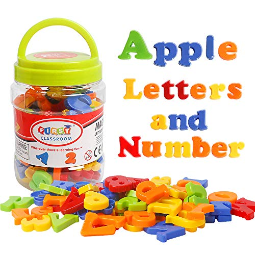 TSYAN Magnetic Letters Numbers Alphabet Refrigerator Fridge Magnets for Kids Plastic ABC Baby Magnets Montessori Toy for Toddlers Educational Preschool Learning Activities Spelling Counting Math Games