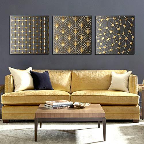 Golden Angel Mouth Tree Geometrische quadratische Textur Leinwand Malerei Poster Wohnzimmer Wanddekoration 50x50cm