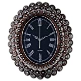 Fancy Elegant Ethnic Luxury Wall Clock European Handmade Fashion Home Decorative Silent Battery Operated 3D Embossed Creative Antique Art Resin Frame Handicraft for Living Room (W20H25 Peacock1)