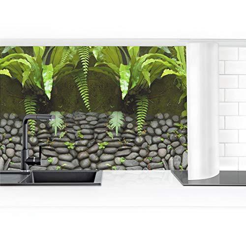 Bilderwelten Küchenrückwand Folie selbstklebend Steinwand mit Pflanzen 50 x 400 cm Smart
