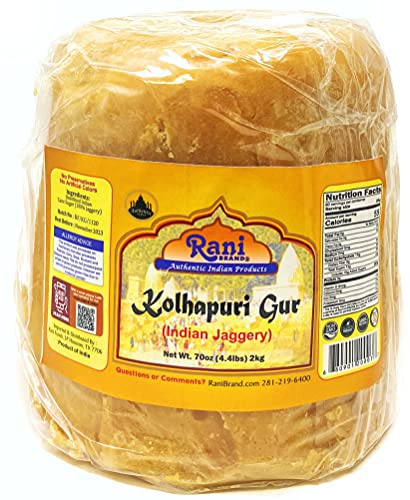 Rani Kolhapuri Gur (Jaggery) 2kg (4.4lbs) ~ Unrefined Cane Sugar,...