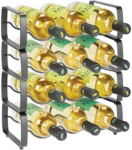 GLYYR Botelleros Metal Steel Free Standing 12 Bottle Modular Rack Toam Martage Organizador para encimera de Cocina, Tapa de Mesa, Despensa, Nevera - Soporte para Vino, Cerveza, Pop/Soda, Agua, Apila