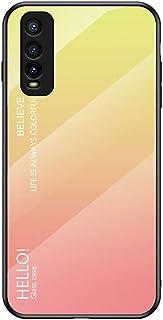 """MOONCASE の Vivo Y70s ケース、ソフト超薄型TPU + 透明ガラス + グラデーションカラーパターン アンチ指紋 引っかき傷に強い 耐衝撃性、に適し Vivo Y70s 6.53"""" - 黄"""